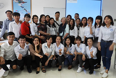 Students in a classroom at Nghe An Trading and Tourism College