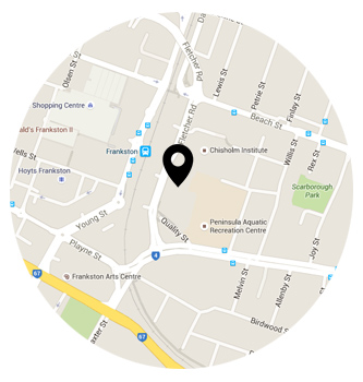 Map showing location of Chisholm Frankston campus, Fletcher Road.